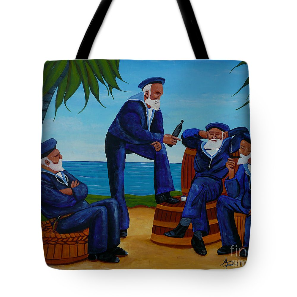 Sailors Tote Bag featuring the painting Telling Sea Stories by Anthony Dunphy