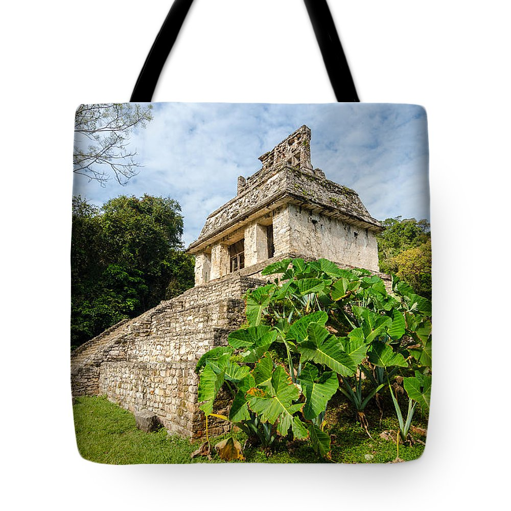 Palenque Tote Bag featuring the photograph Temple And Foliage by Jess Kraft