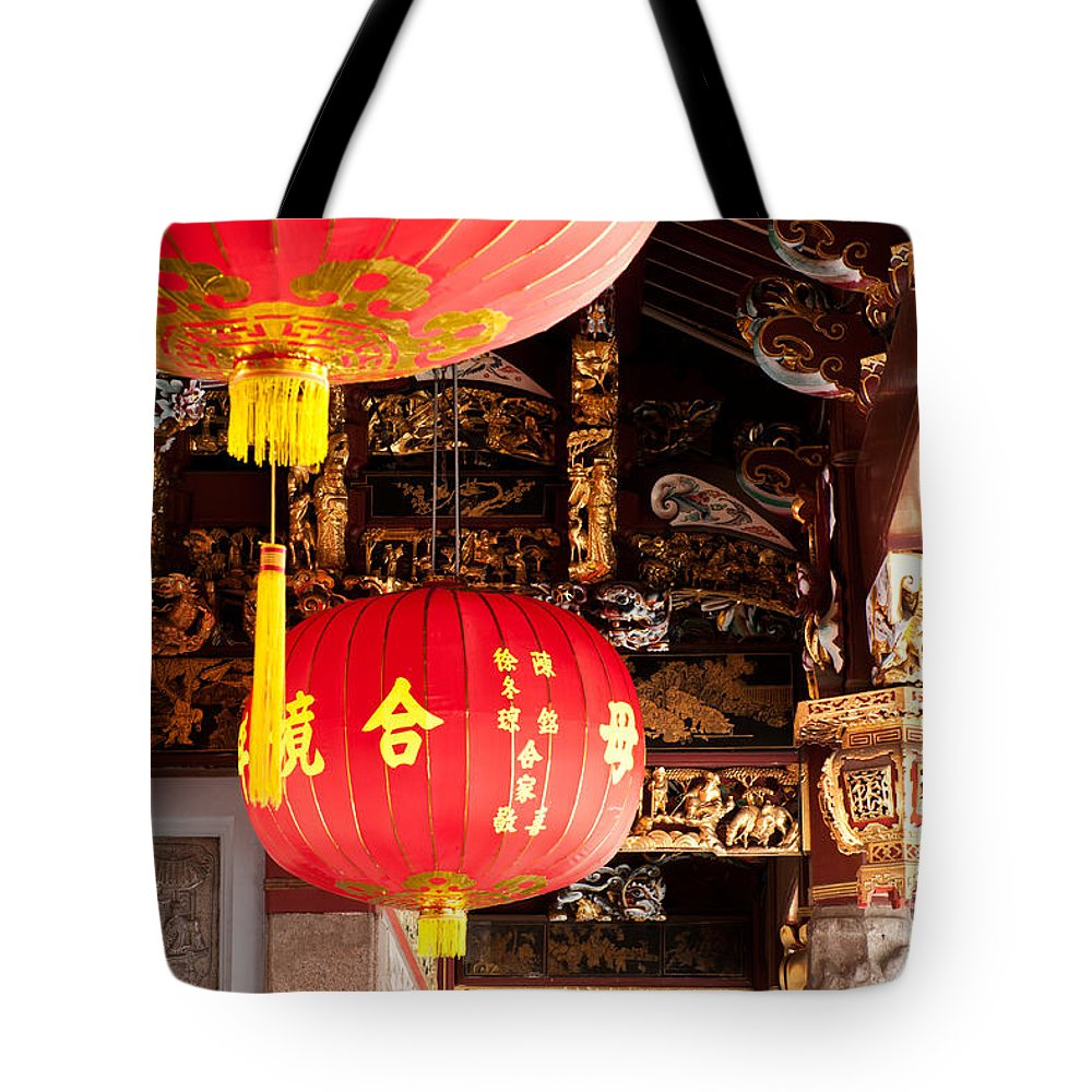 Red Tote Bag featuring the photograph Temple Lanterns 01 by Rick Piper Photography