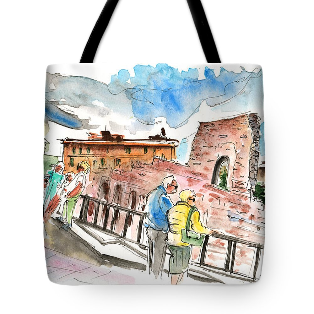 Travel Tote Bag featuring the painting Temple Of Apollo In Siracusa by Miki De Goodaboom
