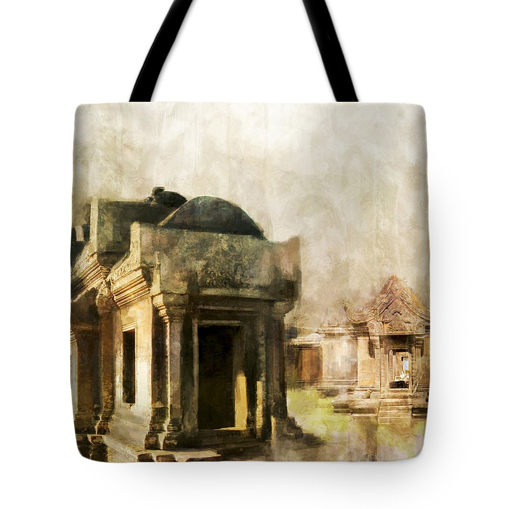 Combodia Art Tote Bag featuring the painting Temple Of Preah Vihear by Catf