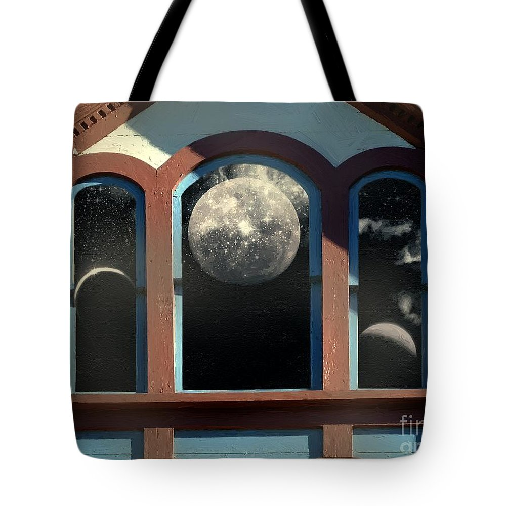 Moon Tote Bag featuring the painting Temple Of The Goddess by RC DeWinter