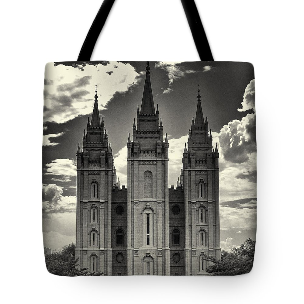 Joshua House Photography Tote Bag featuring the photograph Temple Square Black And White by Joshua House