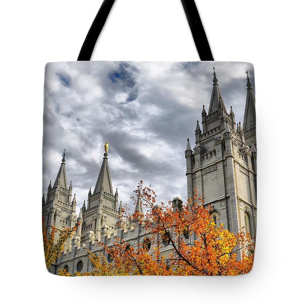 Mormon Tote Bag featuring the photograph Temple Trees by Spencer Hughes