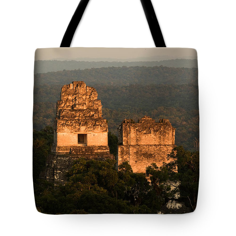 2014-11 Guatemala Tote Bag featuring the photograph Temples 1 And 2 - #3 by Dan Hartford