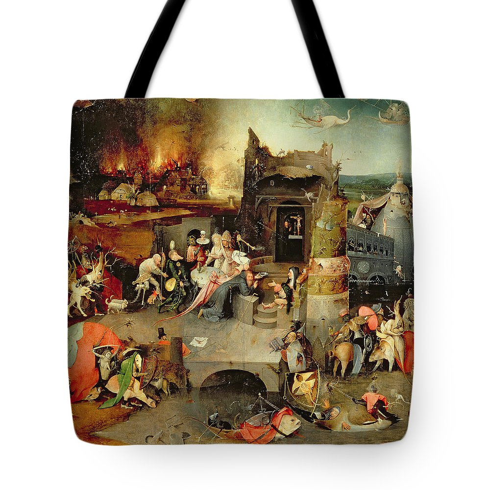 Hieronymus Bosch Tote Bag featuring the painting Temptation Of Saint Anthony Centre Panel Detail by Hieronymus Bosch