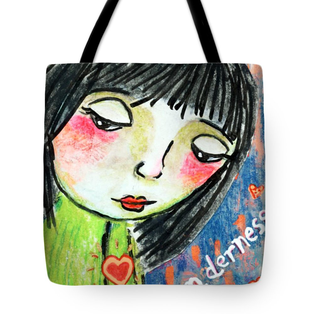 Girl Tote Bag featuring the mixed media Tenderness by AnaLisa Rutstein