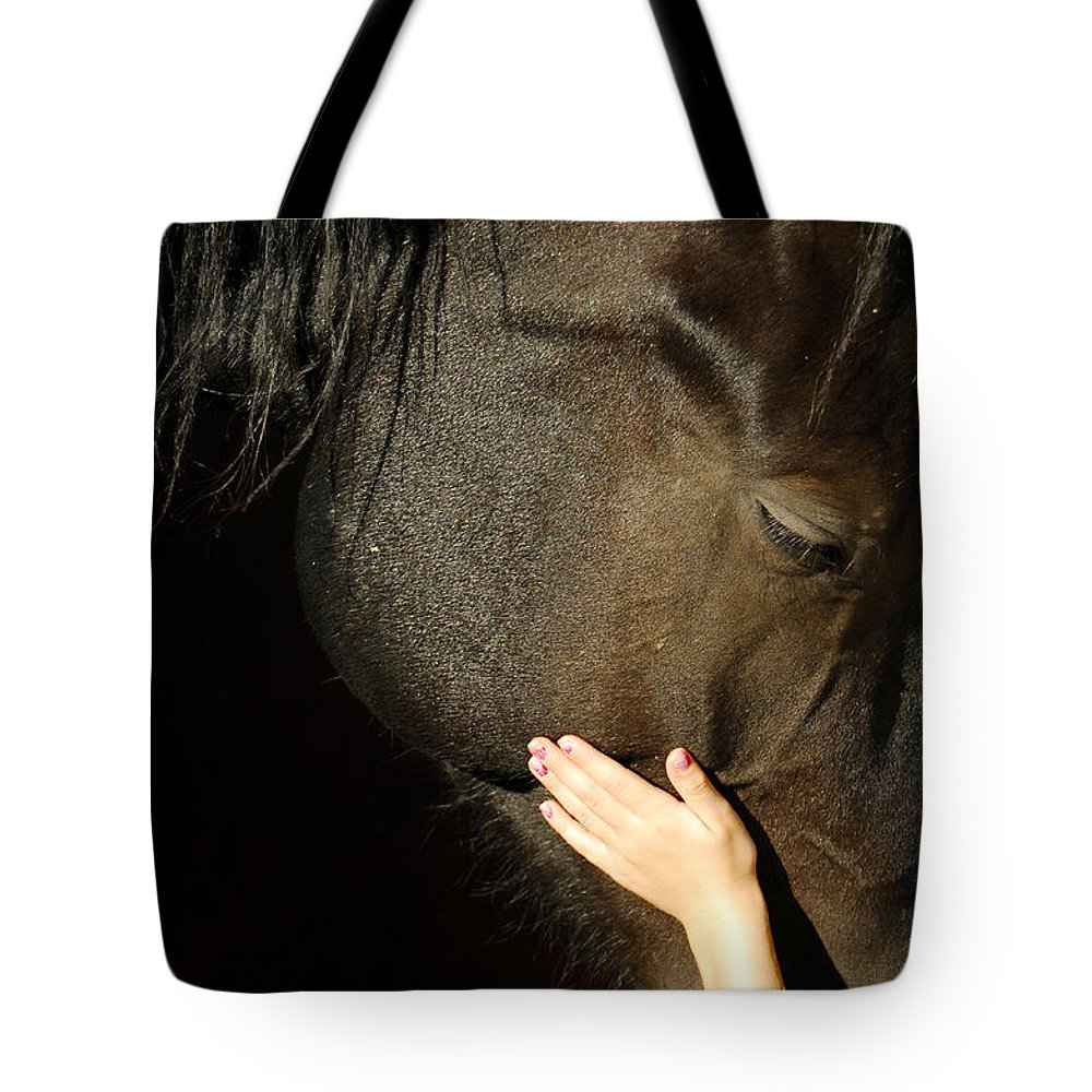 Horse Tote Bag featuring the photograph Tenderness by Donna Blackhall