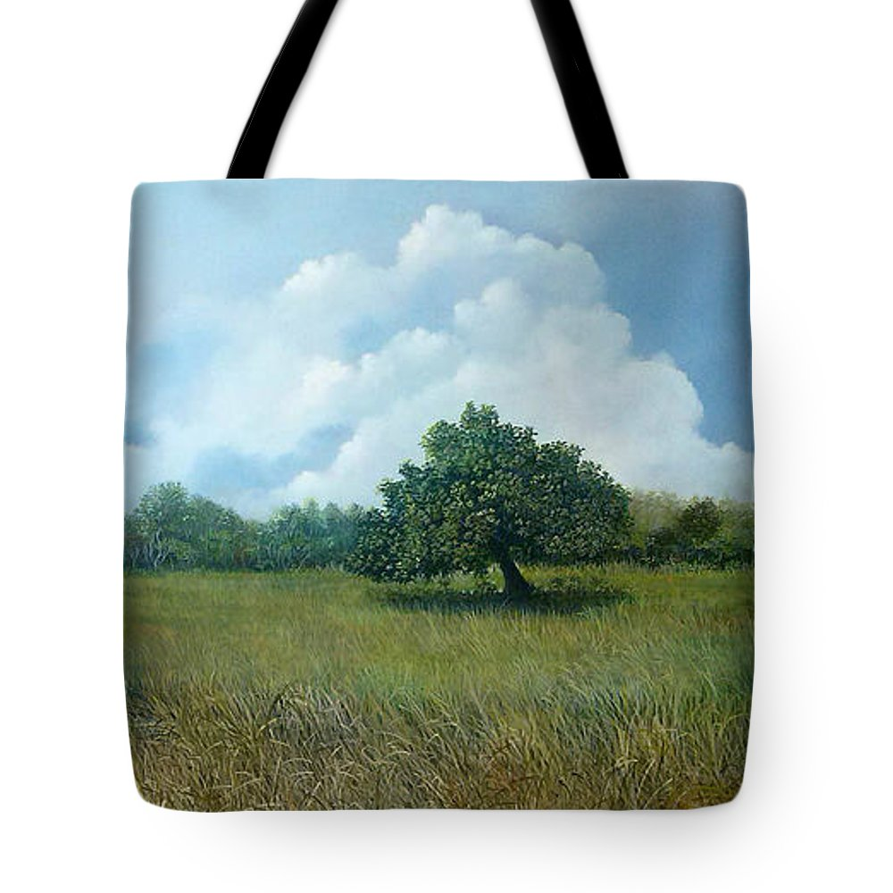 Paisaje Tropical Tote Bag featuring the painting Tensegridad by Ricardo Sanchez Beitia