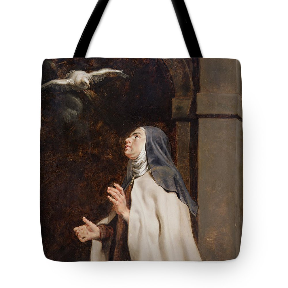 Avila Tote Bag featuring the painting Teresa Of Avilas Vision Of A Dove by Peter Paul Rubens
