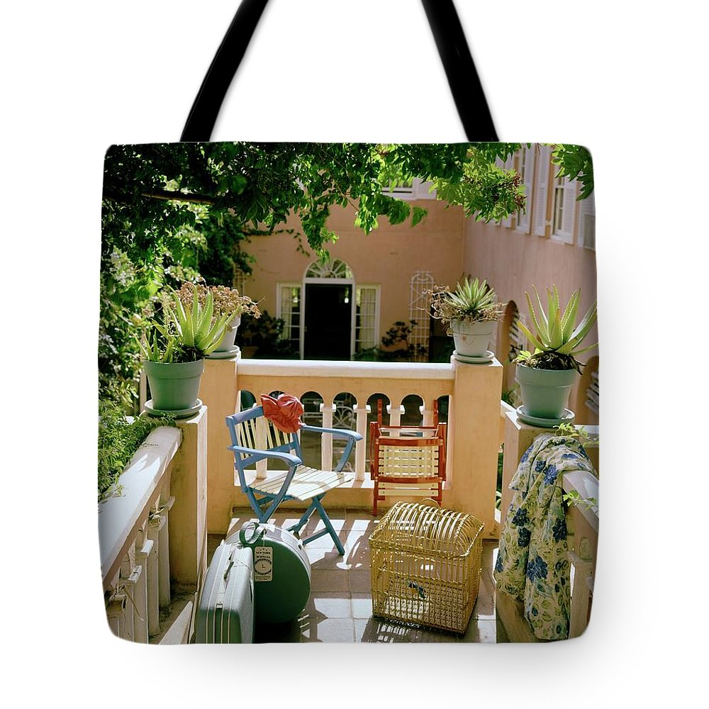 Furniture Tote Bag featuring the photograph Terrace At A Guest House At Waterloo by Tom Leonard