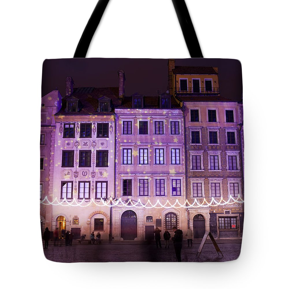 Apartment Tote Bag featuring the photograph Terraced Historic Houses At Night In Warsaw by Artur Bogacki