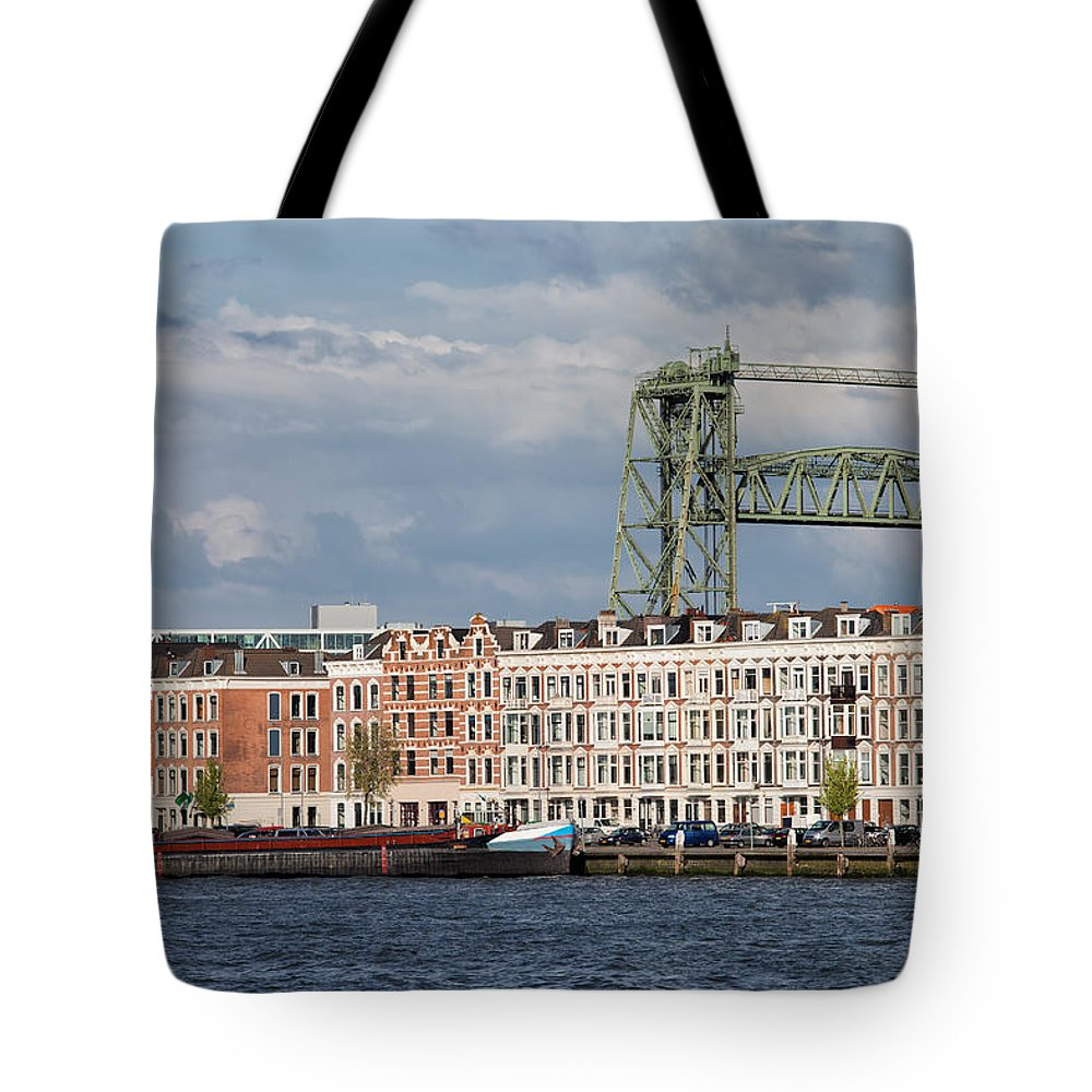 Rotterdam Tote Bag featuring the photograph Terraced Houses And Koninginnebrug In Rotterdam by Artur Bogacki