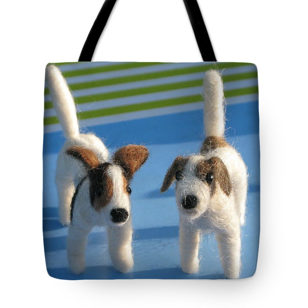 Terriers Tote Bag featuring the sculpture Terriers by Maria Joy