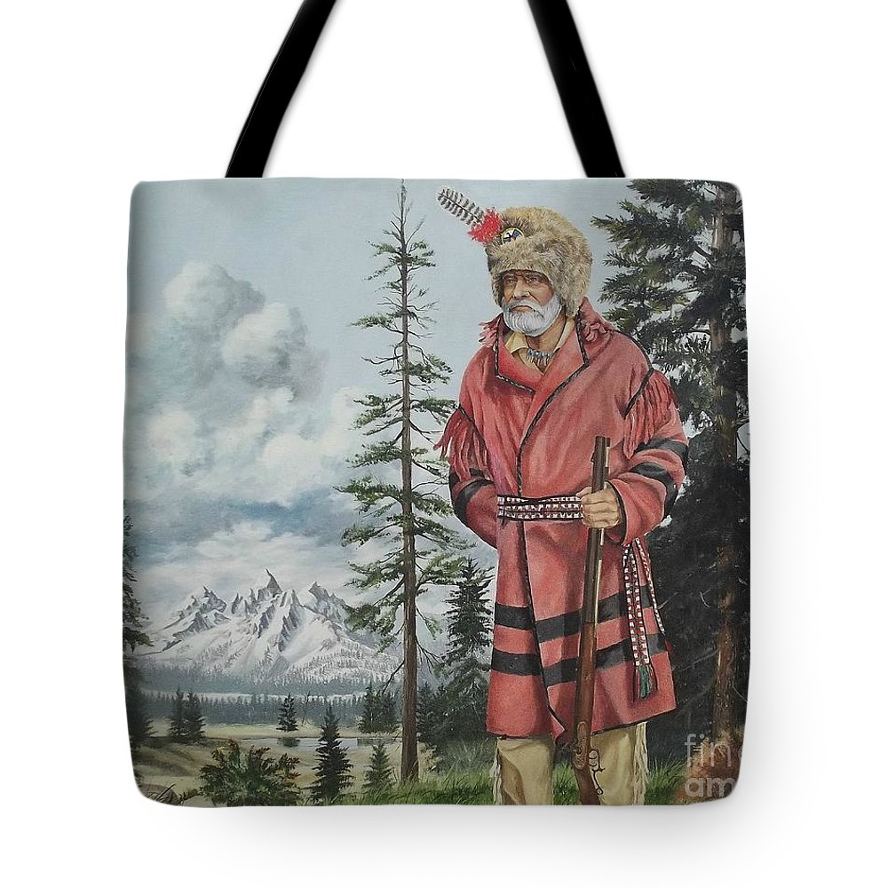 Landscape Tote Bag featuring the painting Terry The Mountain Man by Wanda Dansereau