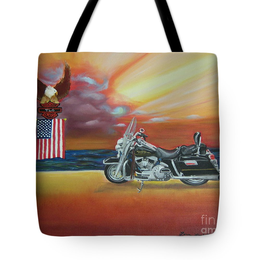 Motorcycle Tote Bag featuring the painting Terry's Hog by Lora Duguay