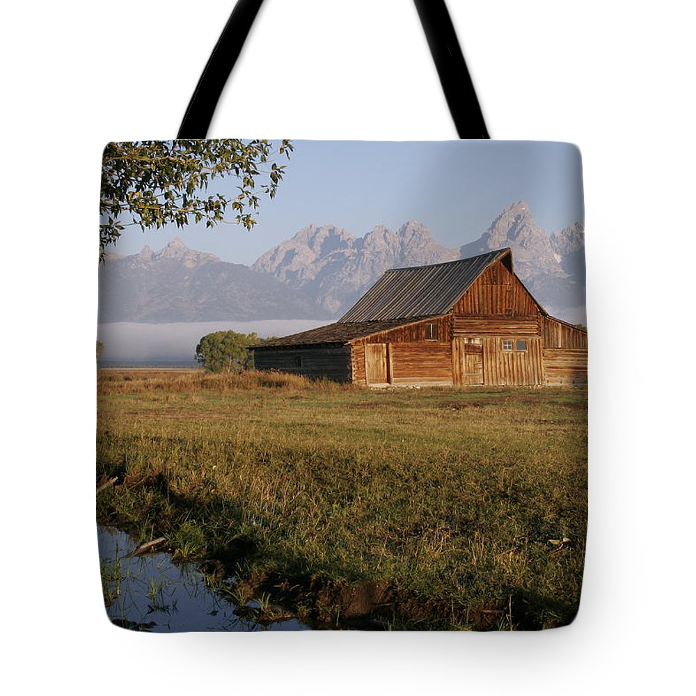 Teton Morning Magic Tote Bag featuring the photograph Teton Morning Magic by Wes and Dotty Weber