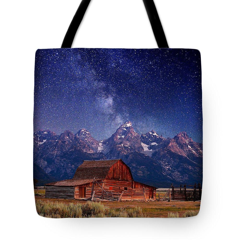 Grand Teton Tote Bag featuring the photograph Teton Nights by Darren White