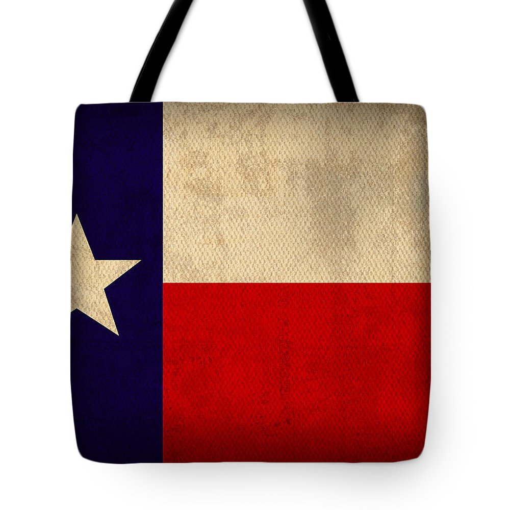 Texas State Flag Lone Star State Art On Worn Canvas Tote Bag featuring the mixed media Texas State Flag Lone Star State Art On Worn Canvas by Design Turnpike