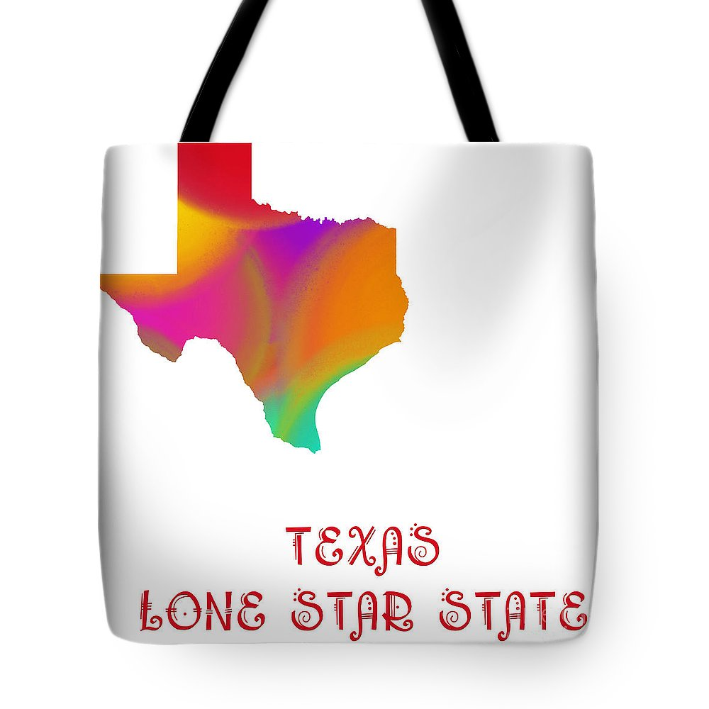 Andee Design Tote Bag featuring the digital art Texas State Map Collection 2 by Andee Design