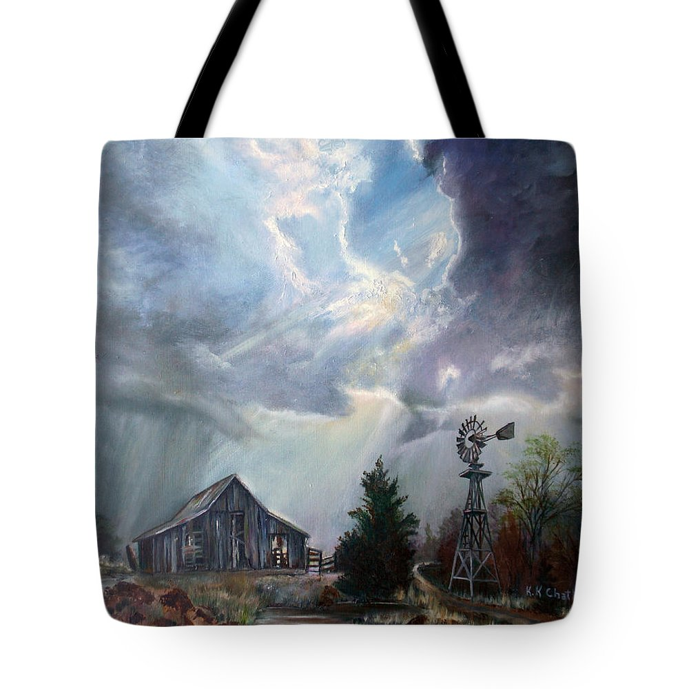 Texas Landscape Art Tote Bag featuring the painting Texas Thunderstorm by Karen Kennedy Chatham