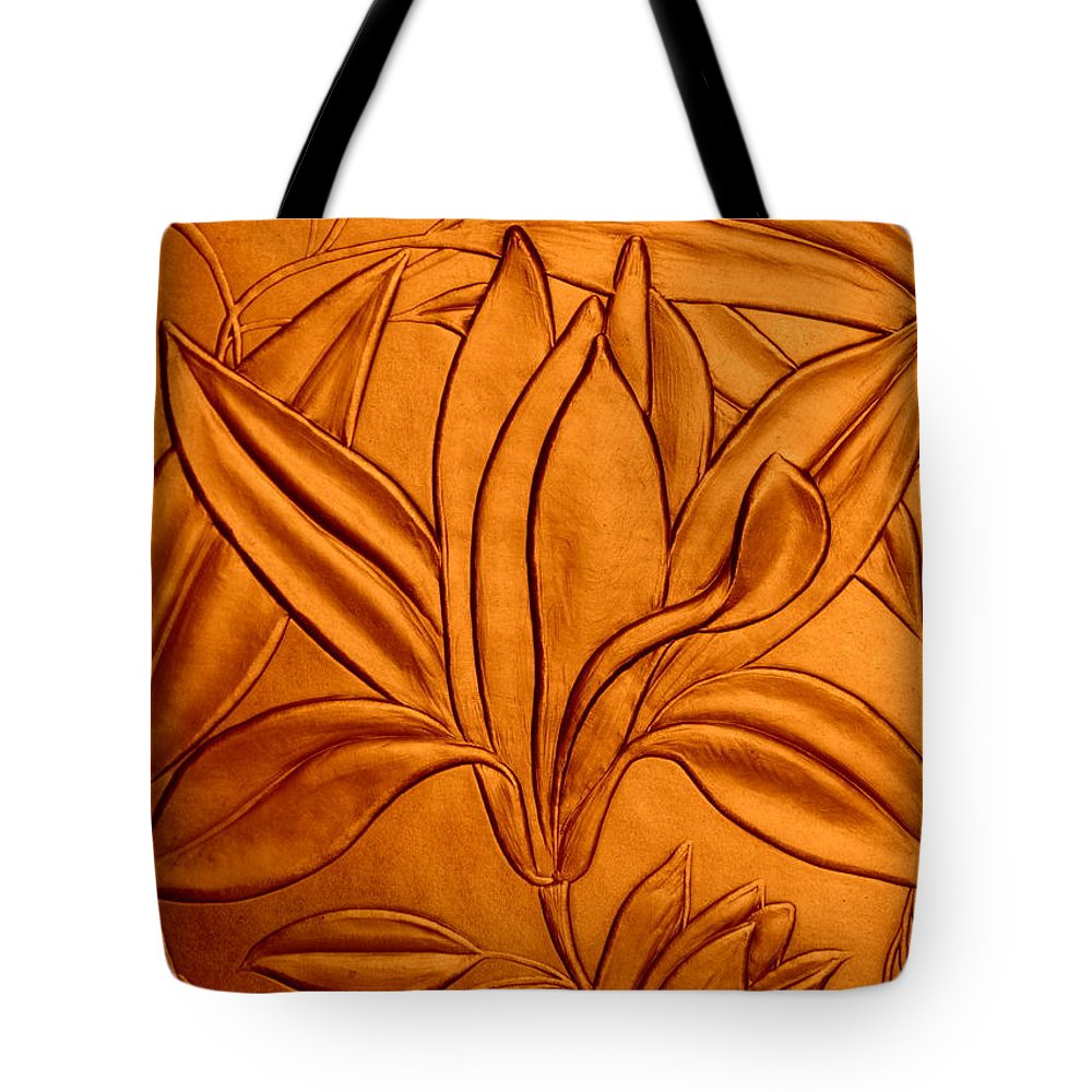 Texture Tote Bag featuring the photograph Textured Flower3 by Riad Belhimer