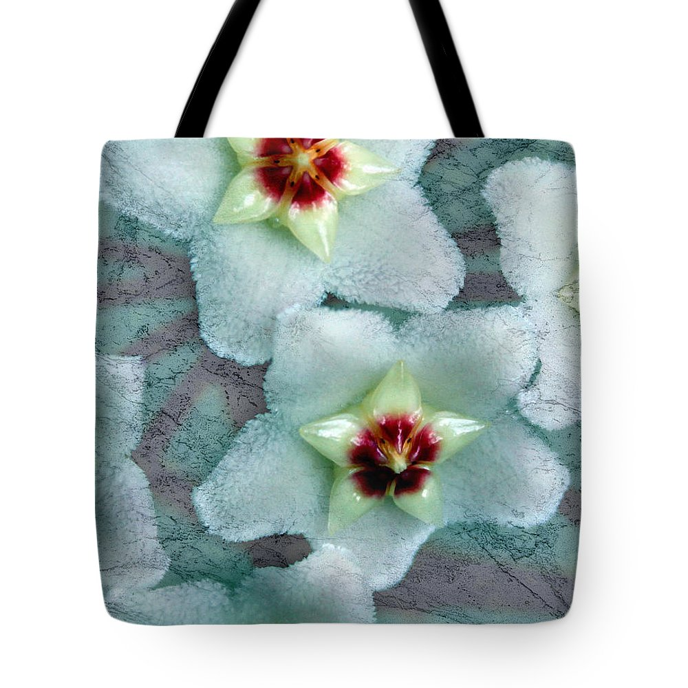 Hoya Tote Bag featuring the photograph Textured Hoya by Debbie Hart