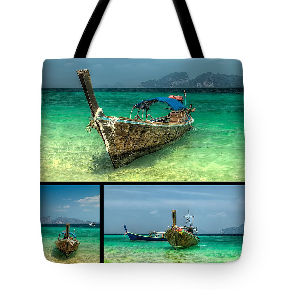 Hdr Tote Bag featuring the photograph Thailand Longboats by Adrian Evans