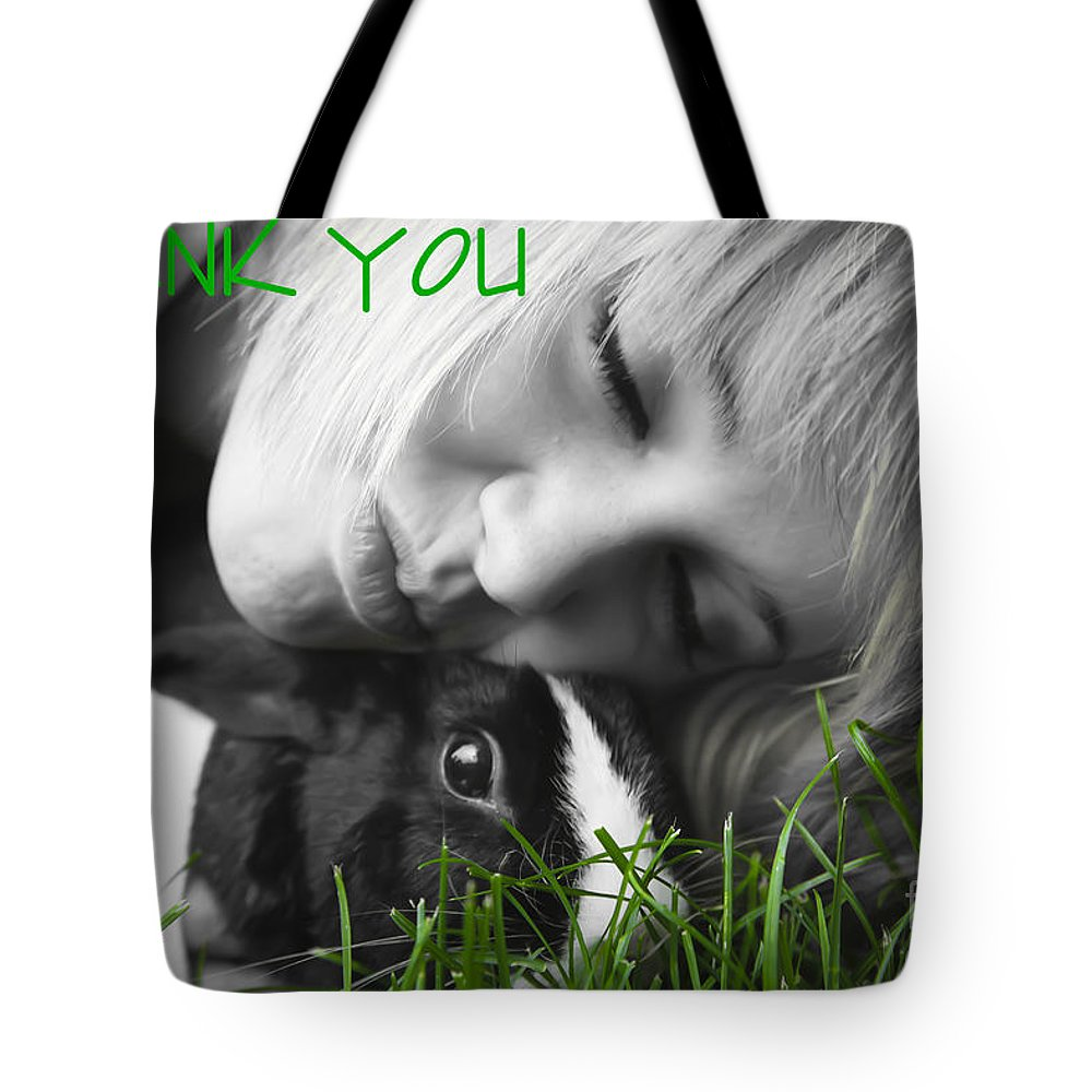 Bunny Tote Bag featuring the digital art Thank You Bunny-card by Lori Frostad