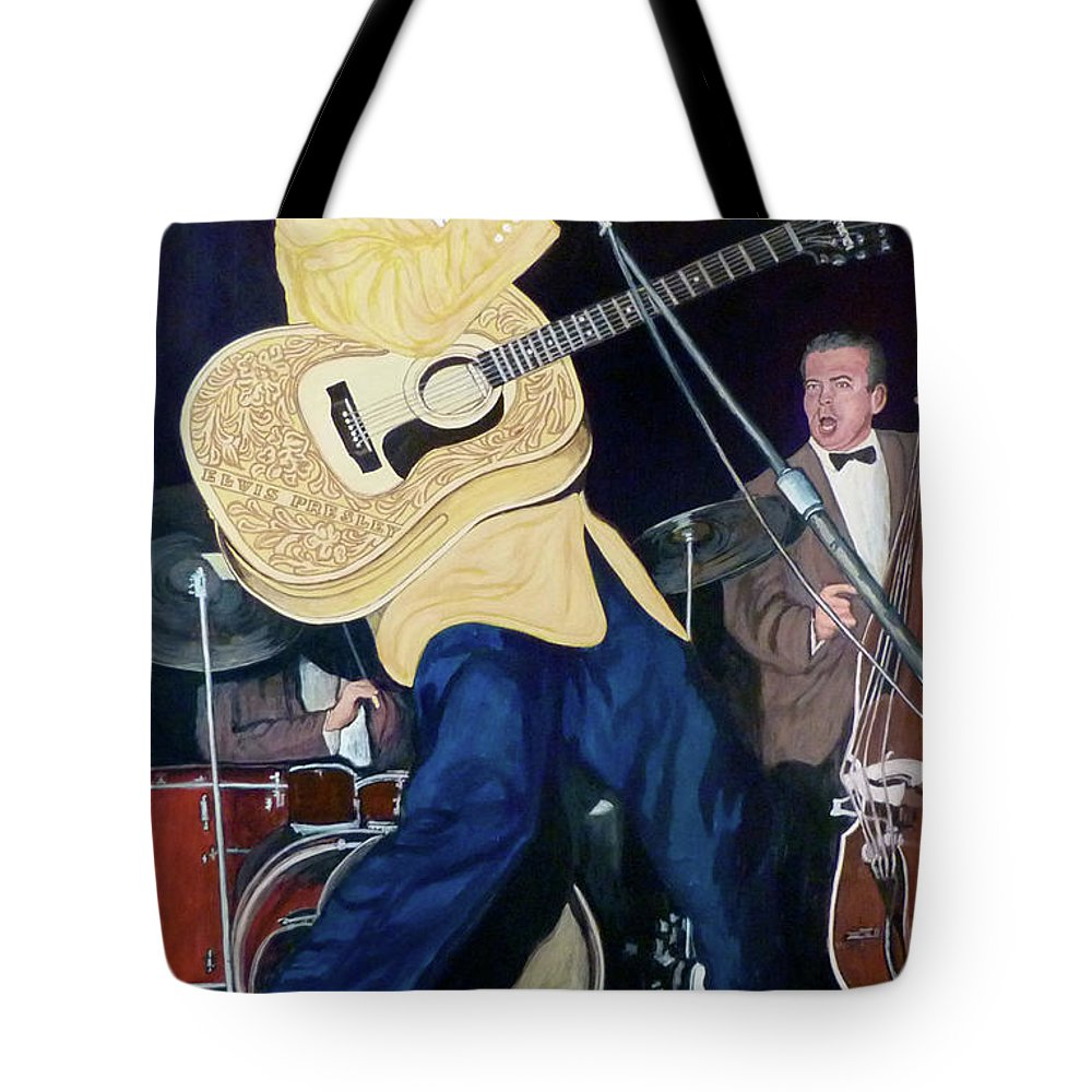 Elvis Presley Tote Bag featuring the painting Thank You Very Much by Tom Roderick