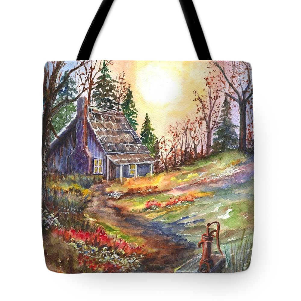 Hand Painted Watercolor Tote Bag featuring the painting That Old Cabin In The Woods by Carol Wisniewski