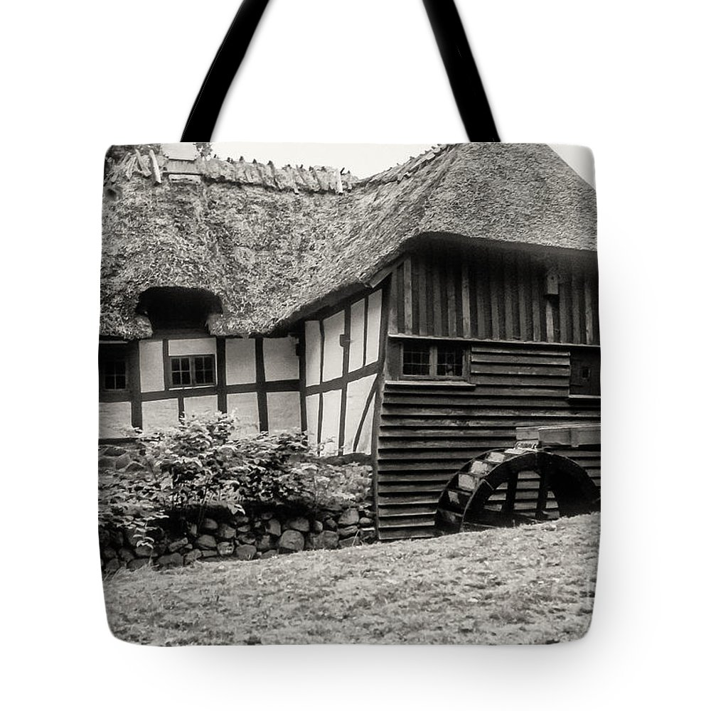Thatched Watermill Kaleko Denmark Structure Structures Building Building Architecture Watermills Mill Mills Black And White Sepia Tote Bag featuring the photograph Thatched Watermill 3 by Bob Phillips