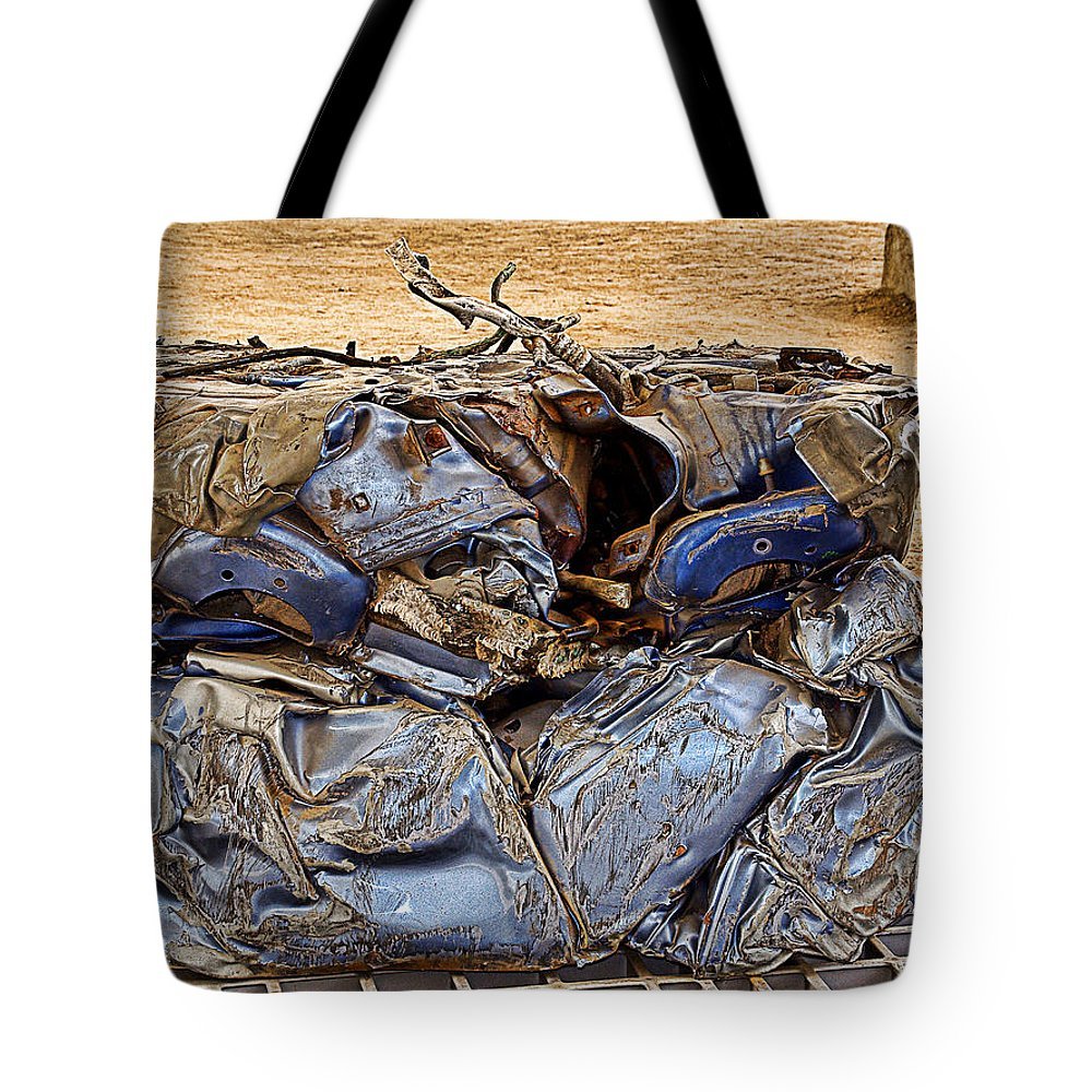 Metal Tote Bag featuring the photograph That's What Remains Of A Car by Christine Czernin Morzin
