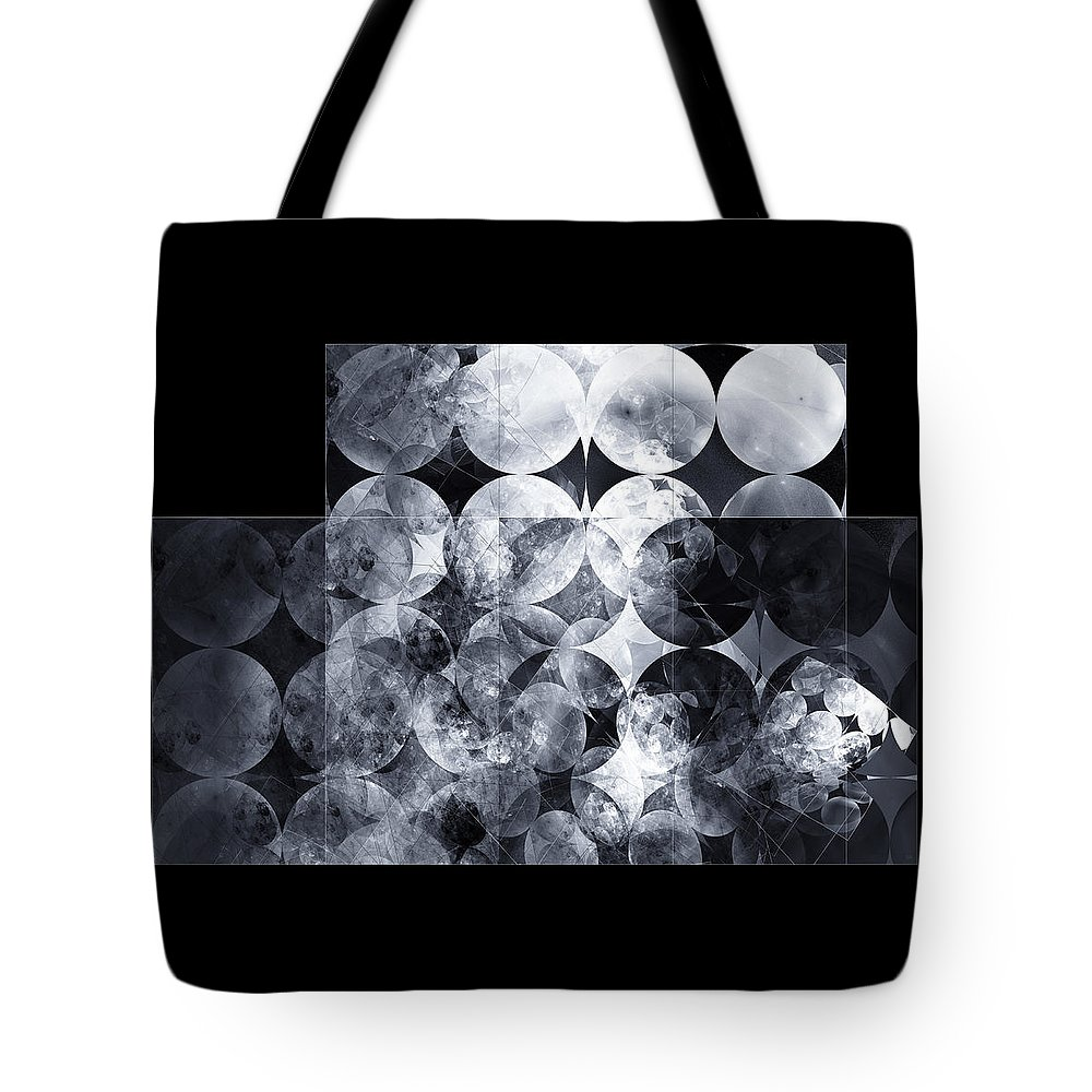 Monochrome Tote Bag featuring the digital art The 13th Dimension by Menega Sabidussi