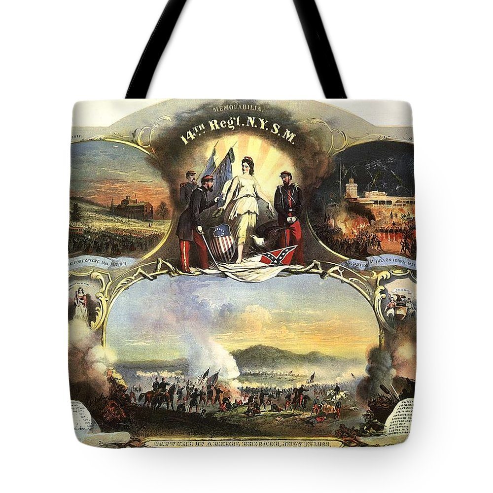 The 14th Regiment New York State Militia Tote Bag featuring the digital art The 14th Regiment New York State Militia by Unknown