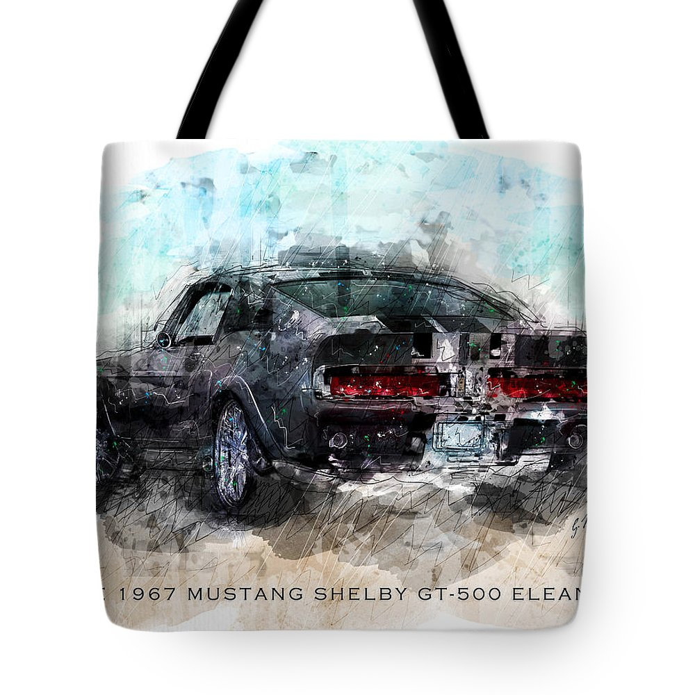 Mustang Tote Bag featuring the digital art The 1967 Shelby Gt-500 Eleanor by Gary Bodnar