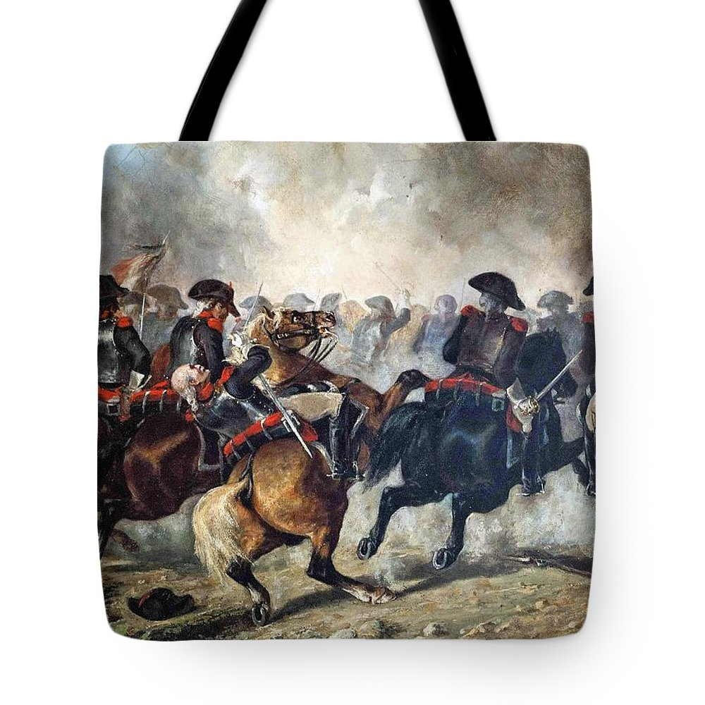 Jules-antoine Duvaux - The 8th Napoleonic Cavalry Regiment Charging Into Battle 1848 Tote Bag featuring the painting The 8th Napoleonic Cavalry Regiment Charging Into Battle by Celestial Images