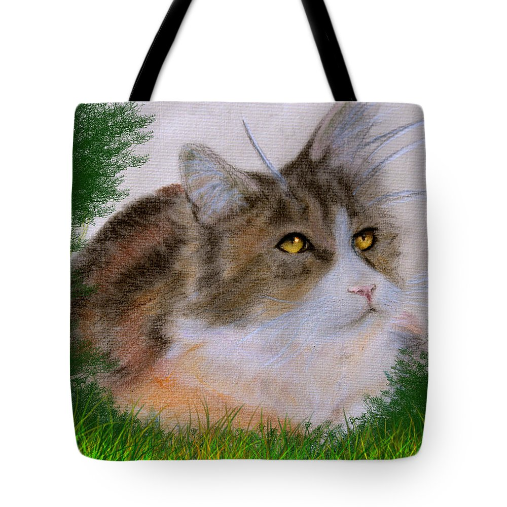 Cat Tote Bag featuring the drawing The Abandoned Kitten by Cynthia Adams