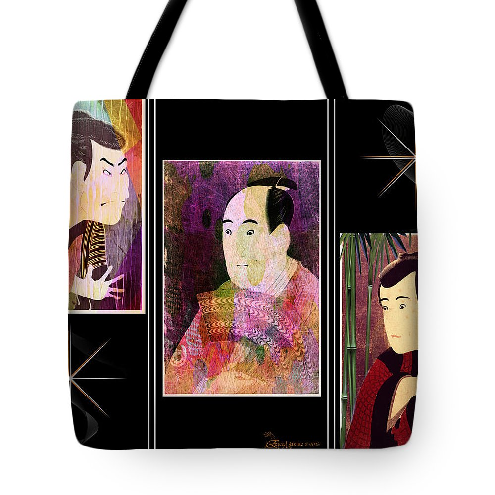 Actors Tote Bag featuring the digital art The Actors Sawamura-otani Oniji And Ichikawa Yaozo by Ericamaxine Price