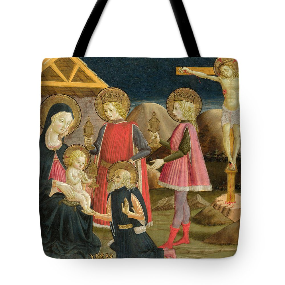 Benedetto Bonfigli Tote Bag featuring the painting The Adoration Of The Kings And Christ On The Cross by Benedetto Bonfigli