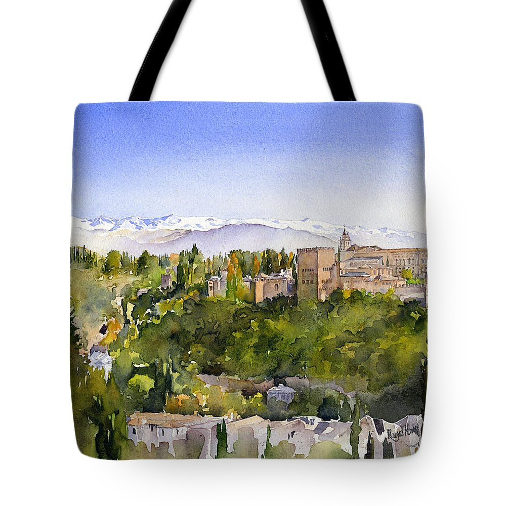 Watercolour Tote Bag featuring the painting The Alhambra Granada by Margaret Merry
