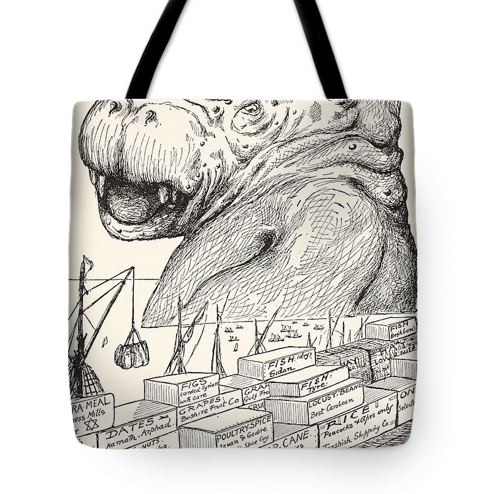 Small Porgies Tote Bag featuring the drawing The Animal That Came Out Of The Sea And Ate Up All The Food That Suleiman-bin-daoud Had Made Ready F by Joseph Rudyard Kipling