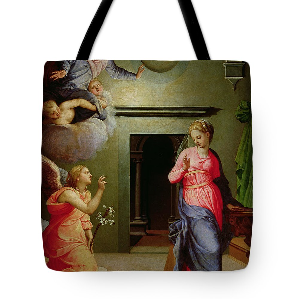 Mannerist Tote Bag featuring the painting The Annunciation by Agnolo Bronzino