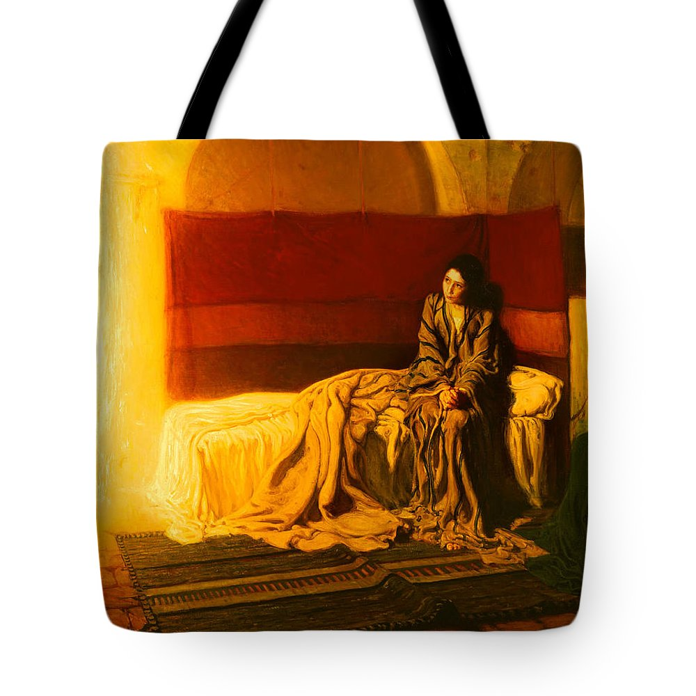 Painting Tote Bag featuring the painting The Annunciation by Mountain Dreams