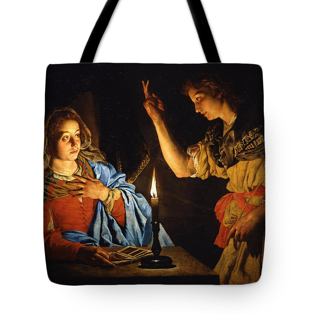 Matthias Stom Tote Bag featuring the painting The Annunciation by Matthias Stom