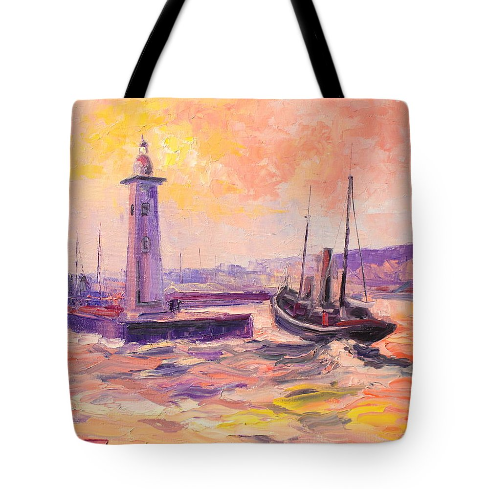 Anstruther Tote Bag featuring the painting The Anstruther Harbour by Luke Karcz