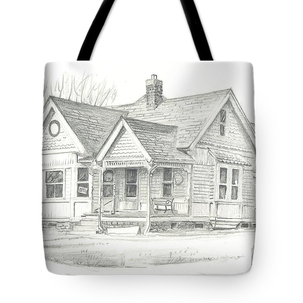 The Antique Shop Tote Bag featuring the drawing The Antique Shop by Kip DeVore