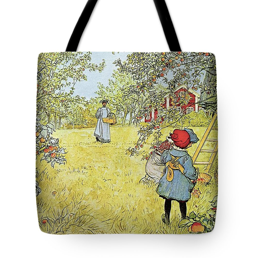 Fruit Tote Bag featuring the painting The Apple Harvest by Carl Larsson