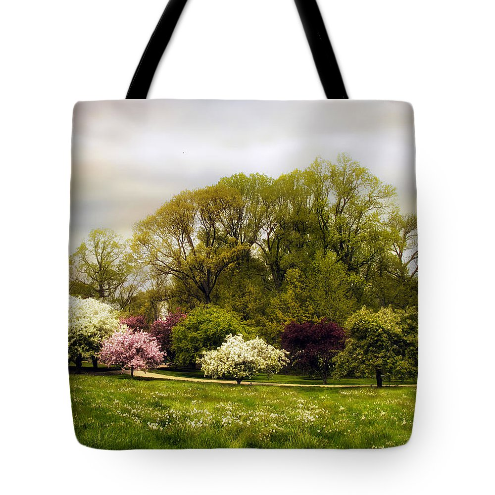 Spring Tote Bag featuring the photograph The Apple Orchard by Jessica Jenney