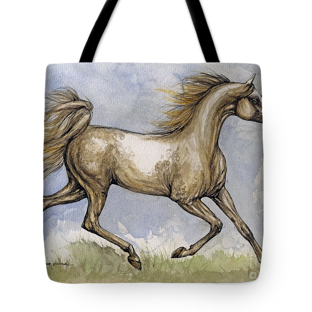 Mare Tote Bag featuring the painting The Arabian Mare Running by Angel Ciesniarska